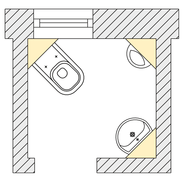 Installation examples for corner elements