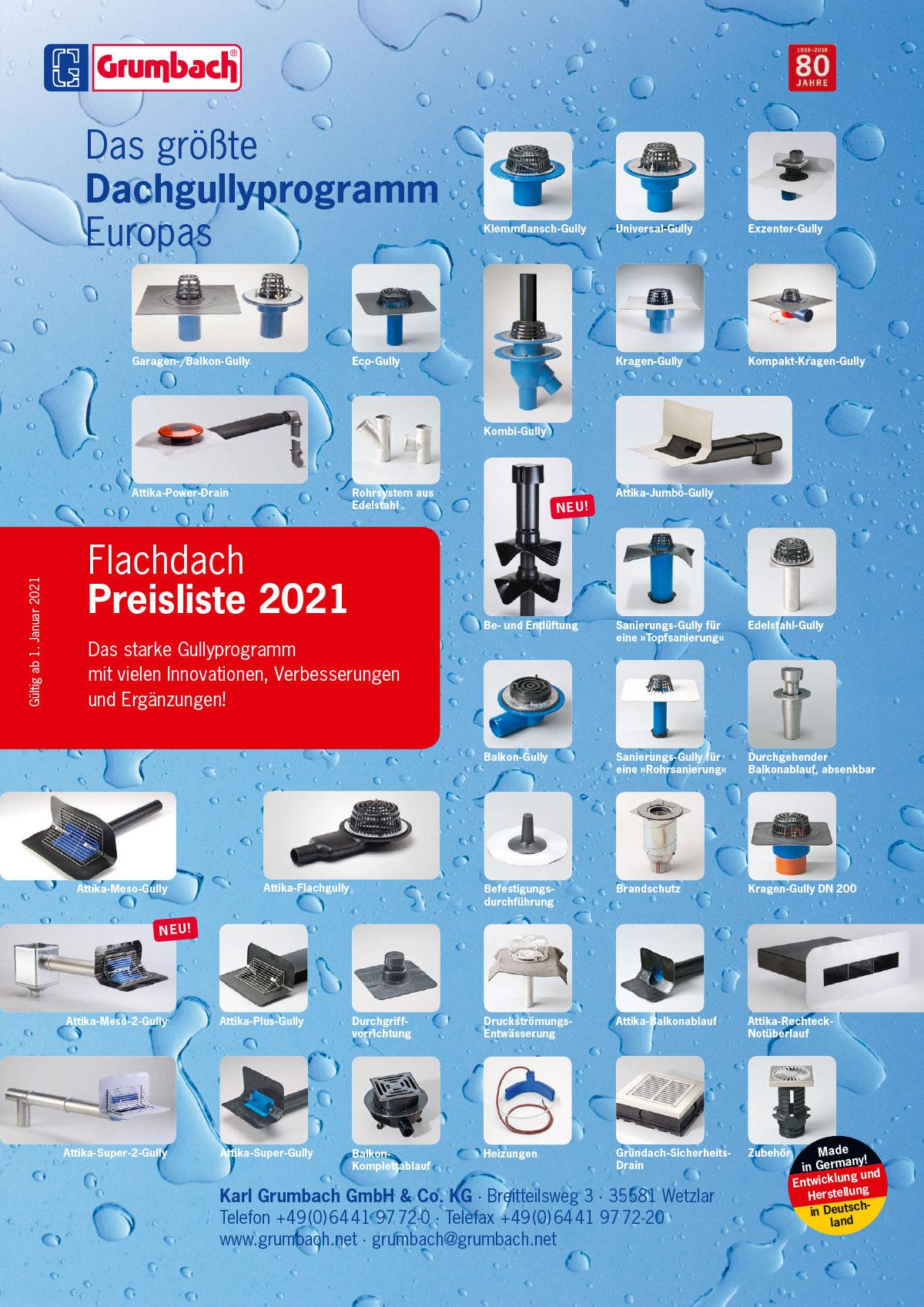 Flachdach-Preisliste 2021