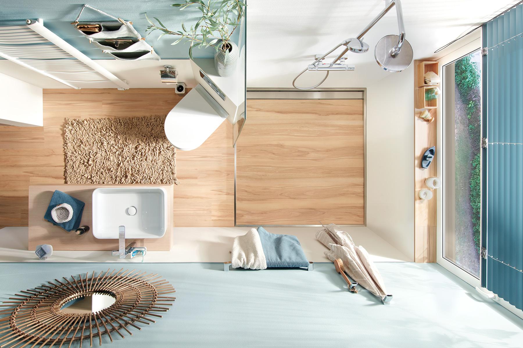 Schlauchbad mit Duschbodenelement und Eck-WC-Stein nachher